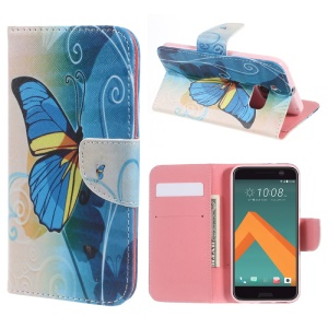 Flip Leather Wallet Stand Case for HTC 10 / 10 Lifestyle -  Blue Butterfly