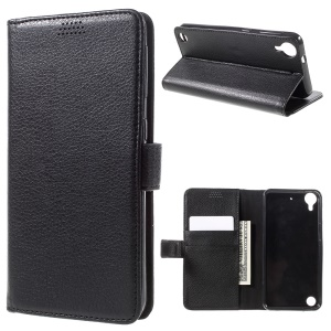Litchi Skin Leather Wallet Case for HTC Desire 530/630 - Black