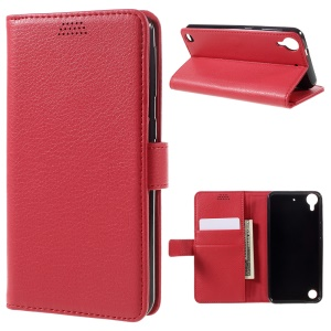 Litchi Skin Leather Phone Case for HTC Desire 530/630 - Red