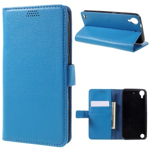 Litchi Skin Wallet Leather Stand Case for HTC Desire 530/630 - Blue
