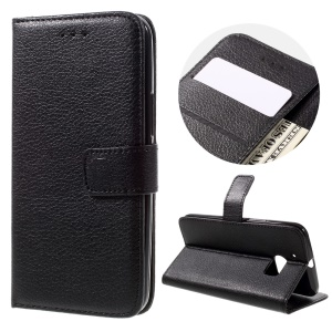 Litchi Skin Wallet Stand Leather Case for HTC 10 / 10 Lifestyle - Black