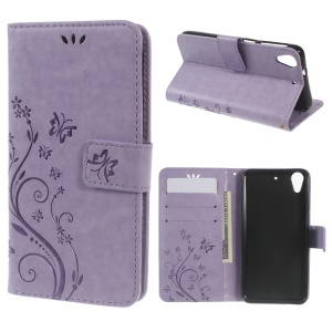 Butterfly Leather Stand Cover Case for HTC Desire 626 / 626s - Purple