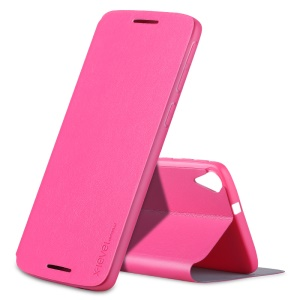 X-LEVEL Slim Leather Case Cover with Stand for HTC Desire 828 - Rose