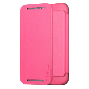 PIPILU X-LEVEL Fibcolor Series for HTC One M8 Leather Flip Case - Rose