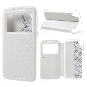 Cross Texture Window Leather Stand Cover for HTC Desire 828 - White