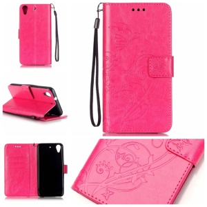 Imprint Butterfly Flower Leather Flip Case for HTC Desire 626 - Rose