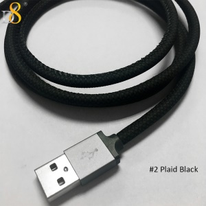 D8 MFI Certified PU Leather Lightning 8pin Charge Sync Cable - Plaid Black
