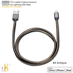 D8 MFI Certified PU Leather Lightning 8pin Charge Sync Cable - Copper