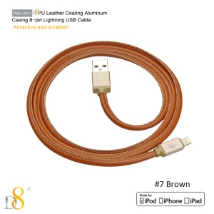 D8 MFI Certified PU Leather Lightning 8pin Charge Sync Cable - Brown