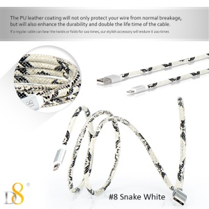D8 MFI Certified PU Leather Lightning 8pin Charge Sync Cable - Snake White