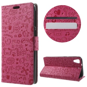 Cartoon Graffiti Stand Leather Case for HTC Desire 628 - Rose