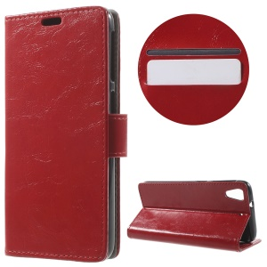 Crazy Horse Wallet Leather Shell for HTC Desire 628 - Red