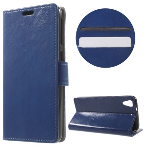 Crazy Horse Stand Leather Cover for HTC Desire 628 - Dark Blue