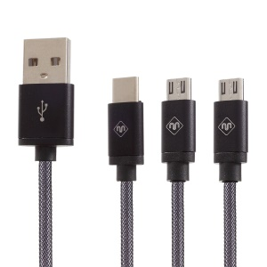 Woven Pattern 3-in-1 Type-c + Micro USB Data Sync Charging Cable (1.2m) - Black