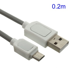 Data Sync Charging Double-sided Metal Patch Micro USB Cable (0.2M) - Grey