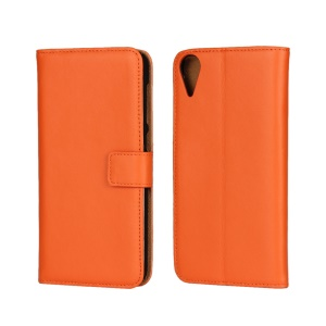 Genuine Split Leather Magnetic Cover with Stand for HTC Desire 825 - Orange