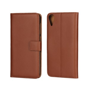 Genuine Split Leather Card Holder Case for HTC Desire 825 - Brown