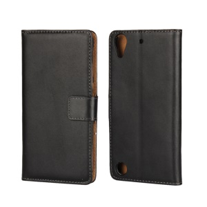 Genuine Leather Flip Stand Wallet Case for HTC Desire 530 - Black