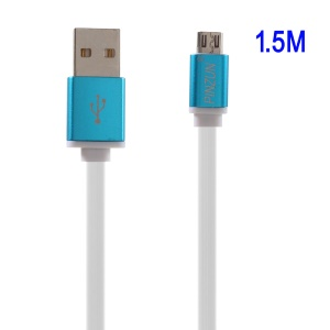 PINZUN 1.5M Micro USB Charge Sync Flat Cable for Samsung Sony - Blue