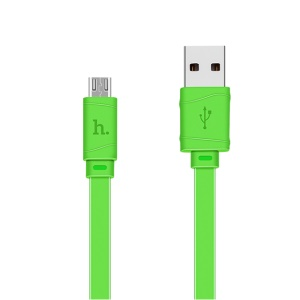 HOCO X5 Bamboo Micro USB Data Cable Flat Cord for Samsung Sony Huawei - Green
