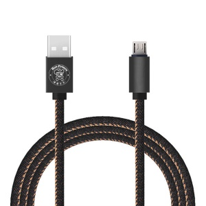 HAT PRINCE 2.4A Jeans Cloth Skin Micro USB Charging Cable for Samsung HTC - Black
