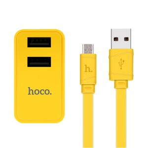 HOCO C6 Charging Kit Dual USB Adapter + Micro USB Cable for Samsung Huawei - CN Plug / Yellow