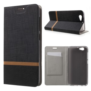 Cross Texture Stand Leather Card Holder Case for HTC One A9s Built-in Steel Sheet - Black