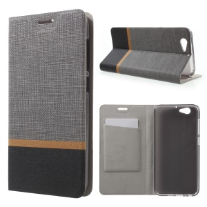 Cross Grain Card Slot Leather Stand Cover for HTC One A9s Built-in Steel Sheet - Grey