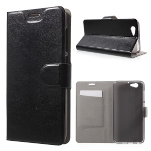 Crazy Horse Card Holder Leather Stand Case for HTC One A9s Built-in Steel Sheet - Black