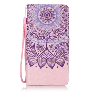 Patterned Leather Wallet Cover with Strap for Lenovo A6000 - Mandala Flowers