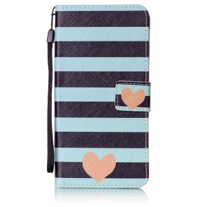 Patterned Leather Card Slots Cover with Strap for Lenovo A7000 / A7000 Plus/ K3 Note - Stripes and Hearts