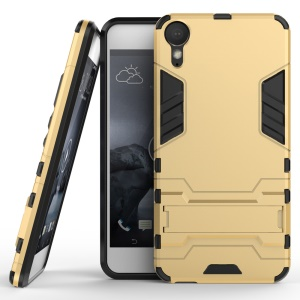 Solid PC + TPU Hybrid Case Shell with Kickstand for HTC Desire 10 Pro - Gold