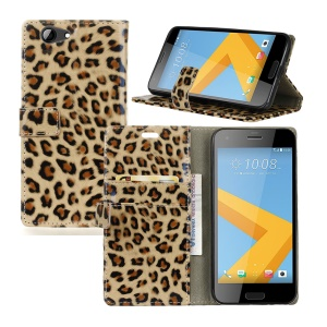 Leopard Pattern Glossy Leather Wallet Phone Case for HTC One A9s