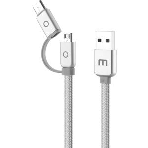 MEIZU 1.2M Type-c + Micro USB Data Sync Charging Cable for Meizu Pro 6/Meizu MX6/Meizu m3 Etc - Silver