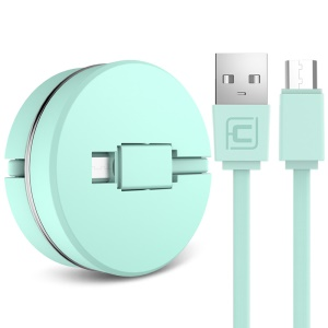 CAFELE Retractable Micro USB Sync Charging Flat Cable - Green