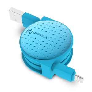 CAFELE Polka Dots Charging Sync Micro USB Retractable Cable for Samsung S7/S7 Edge Etc - Blue