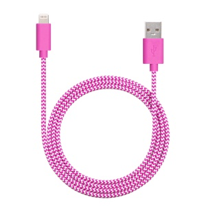 YELLOWKNIFE MFi Certified 1M Braided Lightning 8pin USB Charge Data Cable for iPhone iPad - Rose