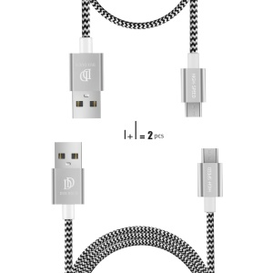 DUX DUCIS KII 1m+0.2m Two Micro USB Charge Data Cable - Silver