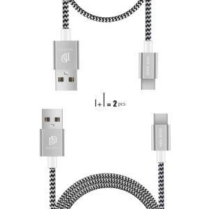 DUX DUCIS KII 1m+0.2m Two Reversible Type-c Data Charging Cables - Silver
