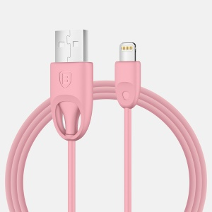 BASEUS Rainbow MFI Lightning 8pin USB Charge Sync Cable (TPU Type) - Pink