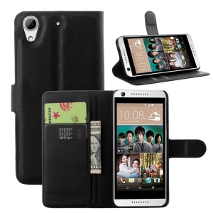 For HTC Desire 650 Phone Case Litchi Leather Wallet Stand Cover - Black