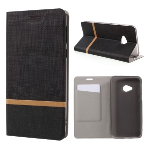 Cross Pattern Leather Card Holder Case for HTC U Play - Black