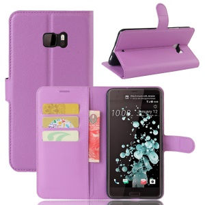 Litchi Texture Wallet Leather Phone Cover Accessory for HTC U Ultra - Purple