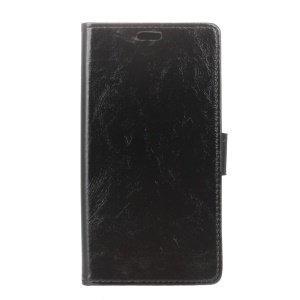 Crazy Horse Leather Wallet Case for HTC One X10 - Black