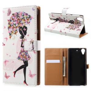 Printing Pattern Leather Wallet Cover for HTC Desire 650 - Flowered Girl Butterflies