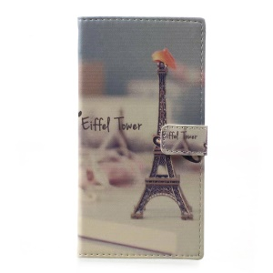 Pattern Printing Leather Wallet Mobile Shell for HTC Desire 650 - Eiffel Tower and Mustache