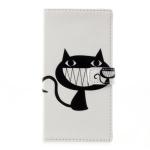 Patterned Leather Wallet Mobile Casing Cover for HTC Desire 650 - Black Cat Smiling