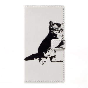 Pattern Printing Leather Case with Wallet Slots for HTC Desire 650 - Black and White Cat