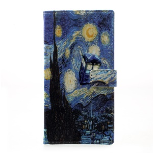 Pattern Printing Leather Wallet Stand Case Cover for HTC Desire 650 - Oil Painting