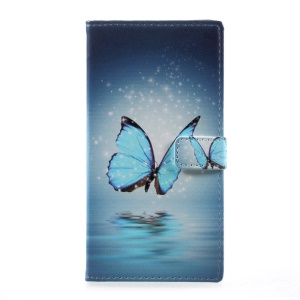Patterned Leather Stand Card Slots Case for HTC Desire 650 - Shiny Blue Butterfly